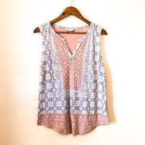 Lucky Brand Boho Pink&Blue Border Sleeveless Top L